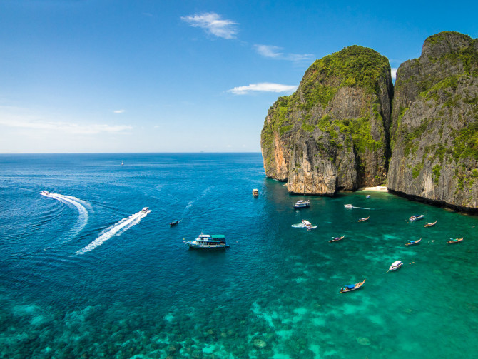 Maya Bay Aerial with Boats Romantic Destination