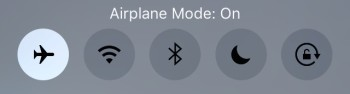iPhone airplane mode buttons close-up