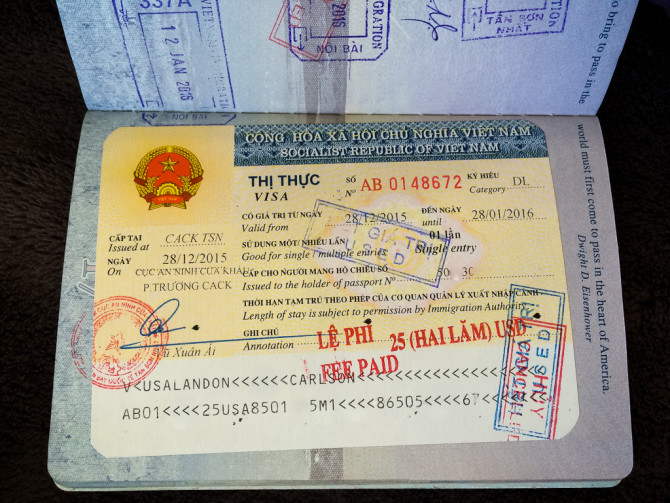 Landon's Visa sticker in passport