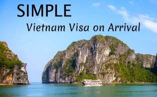 Simple Vietnam Visa on Arrival text on top of Halong Bay Ocean View