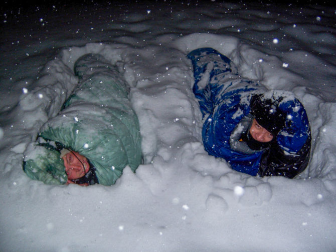 Sleeping in the Snow with no Tent, just Down Sleeping Bag