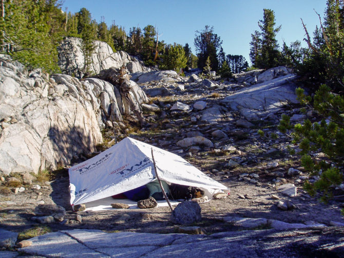 Tyvek Tent with Stick Poles for Sleeping with No Tent