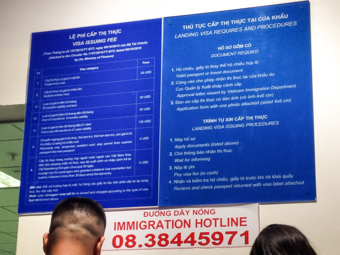 Immigration Information Board at the airport