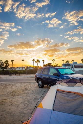 Car Camping tent at sunrise by Carlsbad Beach