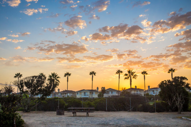 Sunrise with Palm Trees and a Picnic Table